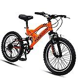 DJYD Kinder-Mountainbikes, 20-Zoll-6-Gang-Doppel Suspension Mountain Bike, High-Carbon Stahl Doppel-V Bremse All Terrain Berg Fahrrad, orange FDWFN