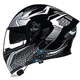 Casco De Moto Modular Bluetooth Integrado Dot/ECE Homologado Con Doble Visera Cascos De Motocicleta A Prueba De Viento Para Hombres Mujeres Cruceros Locomotora ( Color : G , Size : M/Medium 57-58cm )