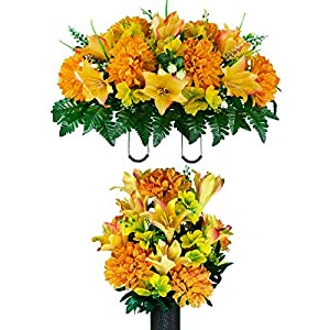 Sympathy Silks Artificial Cemetery Flowers – Realistic – Outdoor Grave Decorations – Non-Bleed Colors, and Easy Fit – Honey Burst Lily & Dahlia Bouquet & Matching Saddle for Headstone