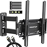MOUNTUP Full Motion TV Wall Mount Bracket for 26-55 Inch TVs with 19.6' Extension, TV Mount with Tilt, Swivel and Rotation up to 60LBS VESA 400x400mm - Easy Single Stud Install, MU0011