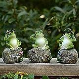 Paquete de 3 estatuas de jardín de Rana - Rana sentada en Piedra Figuras de jardín Ranas de jardín D...