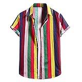 Camisa con Botones de Manga Corta con Estampado de Lino Y Algodón a La Moda para Hombre Camisa con Estampado Informal de Primavera Y Verano