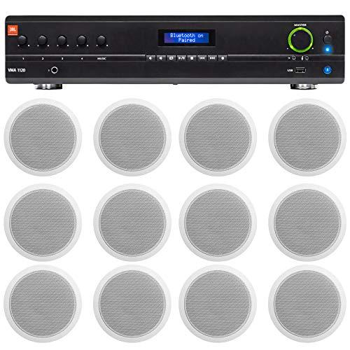 "JBL Commercial Amp Bundle with (12) Rockville White 6"" Ceiling Speakers For Restaurant/Bar/Office/Cafe"