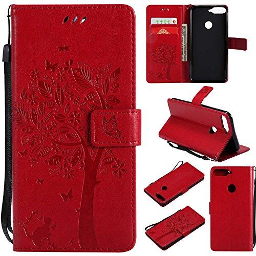 BoxTii® Coque Huawei Honor 7C, Huawei Honor 7C Magnetic Housse Coque, Etui de Téléphone en TPU Silicone pour Huawei Honor 7C (#6 Rouge)