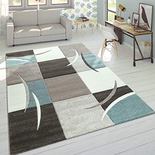 Paco Home Wohnzimmer Teppich In Modernen Pastell Farben, Karo Muster m. 3D Effekt, Grösse:120x170 cm, Farbe:Türkis