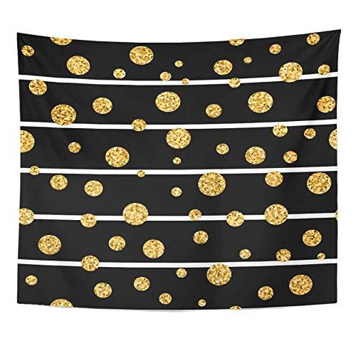 AdoDecor Lunares Dorados en líneas Confeti Dorado Rayas Blancas y Negras Tapiz navideño Decoración para el hogar Colgante de Pared 150x180cm