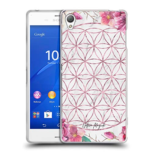 Head Case Designs Offizielle Nature Magick Rose Gold Copper Flowers Marble Mandala Geometric Gold Soft Gel Huelle kompatibel mit Sony Xperia Z3