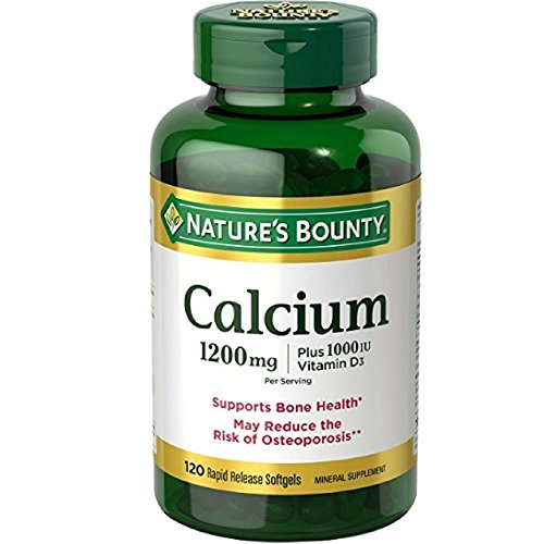 Calcium Carbonate & Vitamin D by Nature's Bounty, Supports Immune Health & Bone Health, 1200mg Calcium & 1000IU Vitamin D3, 120 Softgels