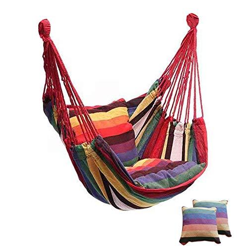 auspilybiber Hamaca portátil de lona de la cama hamacas del jardín columpio colgante ocio perezoso cuerda silla columpio interior dormitorio asiento camping