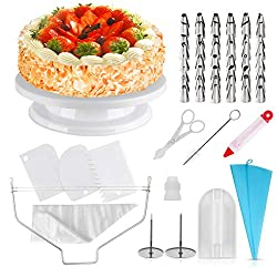 homeasy cake turntable pie plate rotatable cake stand 71 set with stainless steel nozzles, silicone bag and disposable piping bag