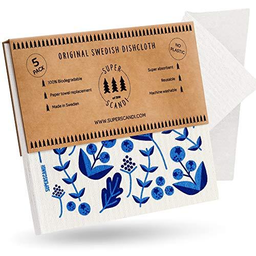 SUPERSCANDI Blueberry Lot de 5 torchons suédois réutilisables en cellulose biodégradable durable et réutilisables en papier pour serviettes de toilette de rechange Motif bleuets