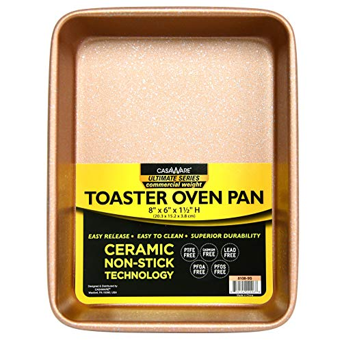 casaWare 8 x 6 x 1.75-Inch Toaster Oven Ultimate Series Commercial Weight Ceramic Non-Stick Coating Pan (Rose Gold Granite)