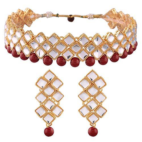 Aheli - Juego de gargantilla de boda para mujeres y niñas, diseño tradicional