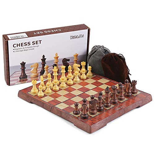 KIDAMI Folding Magnetic Travel Chess Set with 2 Portable Bags for Pieces Storage, Lightweight for Easy Carrying (12.4 x 10.6 Inches), Gift for Chess Lovers and Learners