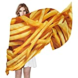 French Patatine fritte donna grande raso quadrato sciarpa seta sensazione avvolgimento capelli regalo designer sciarpa 70 x 35 pollici