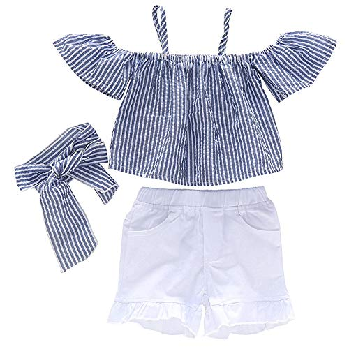 Baby Girls Cute Flamingo Halter Pompons Tops Cotton Shorts Outfits Summer Clothes for Girls