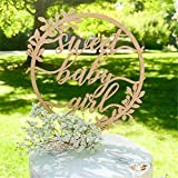 Sweet Baby Girl Cake Topper - 1st Birthday Baby Shower for Newborn Gender Reveal Party Decorations (Wooden)