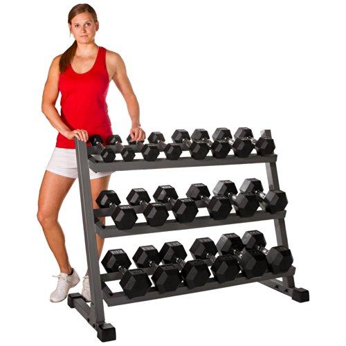 XMark 550 lb. Set Hex Dumbbell Set and Dumbbell Rack, 5 lb. to 50 lb. Dumbbell Set with Three Tier Dumbbell Rack for Easy Dumbbell Storage (Gray)