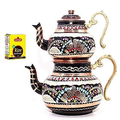 Soho Concept Turkish Traditional Tea Pot Handmade Handhammered Teapot Set Tea Maker Semaver Large 29cm