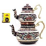 Soho Concept - Tetera tradicional turca hecha a mano martillada tetera set de té semaver...