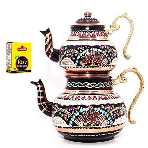 Soho Concept - Tetera tradicional turca hecha a mano martillada tetera set de té semaver grande 29 cm