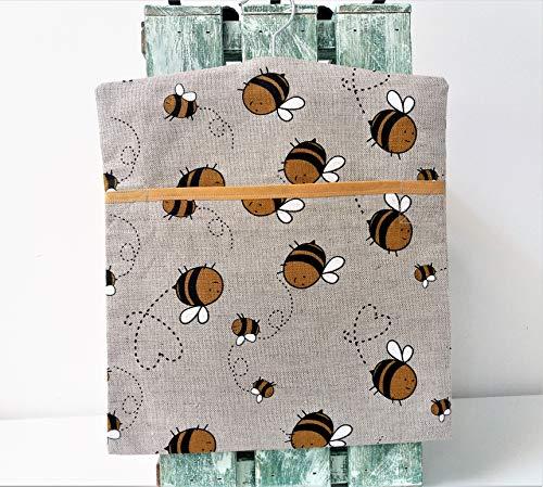 Wäscheklammerbeutel, Aufbewahrungsbeutel aus Baumwollleinen, Muster: geschäftige Bienen