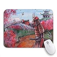 NINEHASA 可愛いマウスパッド 庭で日本のサムライの刀を描く桜の花滑り止めラバーバッキングノートパソコン用マウスパッドマウスパッド