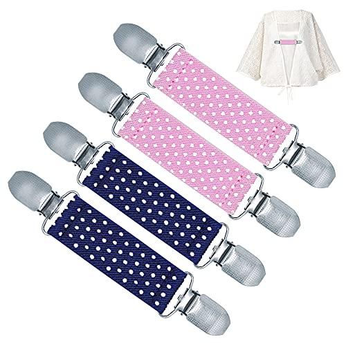 4 Stück Pullover Clips elastisch, Sweater Cardigan Clips Vintage, Elegante Strickjacke Clip Schnalle Klaamer mit Gummibänder, Handschuh Clips Kragen Clips Poncho Clip für Damen Herren Kinder (Typ D)