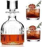Sencillez 345ML Whisky Glass Decanter Set Cocktail Decanter Vino De Vidrio Decantador Incluye 2 Licor Escocés Borbón Vino Brandy Vodka Scotch CHENGYI (Color : Default)