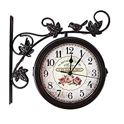 ZJXH Wall Clocks Double-Sided Antique Classic Wall Hanging Clocks Outdoor Living Room Bedroom Wall Decoration Retro Wall Clock for Living Room Bedroom Kitchen (Color : Brown, Size : 31x10x28cm)