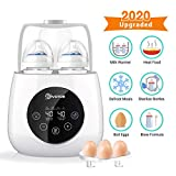 Baby Bottle Warmer Steam Sterilizer, EIVOTOR 6 in 1 Double Bottle Baby Bottle Warmer, LED Display & Baby Food Rapid Heater Warm Milk Formula Heat Food Defrost, BPA Free