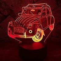 3Dナイトライト3DランプSUVカーキッズおもちゃ子供クリスマスギフト7色変更ライト装飾の 横にあるベッド用LED電球