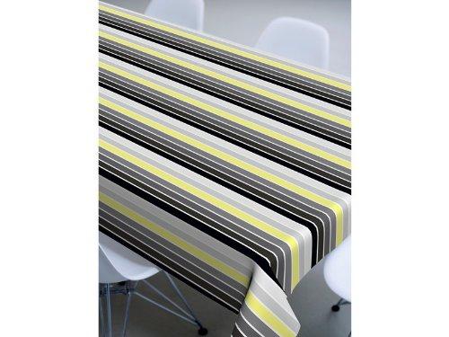 Wachstuch: abwaschbare Meterware: schwarz-gelb gestreift: Graphic Stripe: Tischdecke abwaschbar: 140cm breit