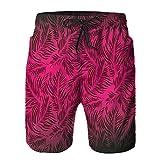 QUKEFU Bañador de Hombre,Palmeras Hawaiian Forest Tropic Island Theme Deja impresión de la Imagen de la Obra de Arte de Ombre,Natación Secado Rápido Pantalones Cortos Shorts de Playa para Swim L