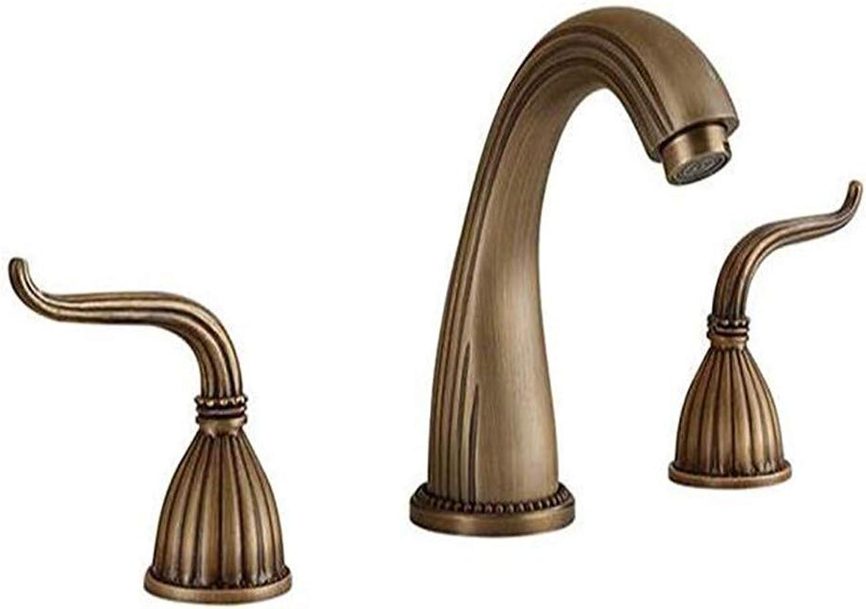 Taps Kitchen Faucetbathroom Sink Tapcopper European Antique Faucet Double Three Hole Split Basin Basin Over Counter Basin Faucet