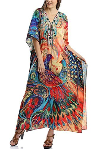 AiJump Damen Chiffon Bohemien Kaftan Übergröße Strandkleider Lang Kleid Kimono Badeanzug Cover Ups