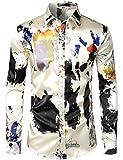 ZEROYAA Men's Hipster Splash Ink Design Silk...