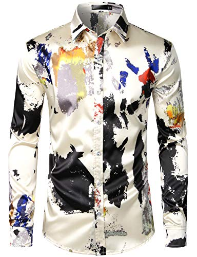 ZEROYAA Men's Hipster Splash Ink Design Silk Like Satin Button Down Dress Shirt for Party Prom ZLCL12-Beige X-Large