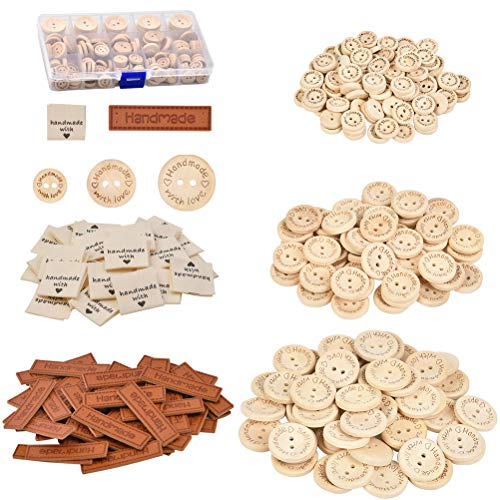 QLOUNI Juego de 340pcs Etiquetas Handmade Cuero Etiquetas Personalizadas Hechas a Mano con Botones de madera para Costura Tejido Manualidad Artesanía DIY