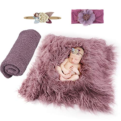 4 Pcs Newborn Photography Props, Fascigirl Baby Photo Prop Purple Long Ripple Wrap Photography Wrap Toddler Blankets with Floral Hairband Baby Photography Mat for Girls