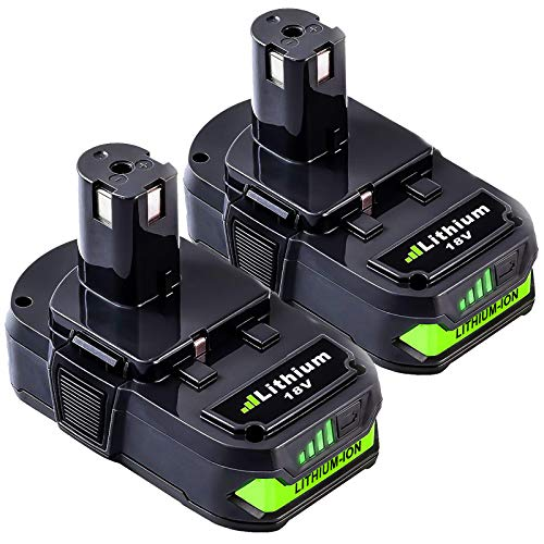 2Packs 3000mAh P102 Lithium-ion Replacement Battery Compatible with Ryobi 18V Battery P102 P103 P105 P107 P108 P109 ONE+ Cordless Tool
