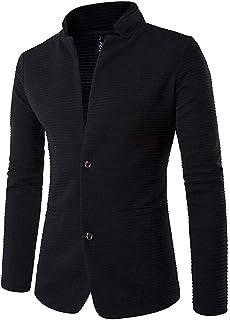 LaoZan Men Splice Formal Blazer Outerwear with Button Slim Fit Long Sleeve Business Jacket Coat