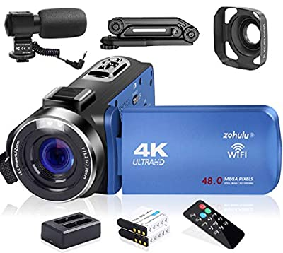 Video Camera, Zohulu 4K Camcorder WiFi Ultra HD 48MP YouTube Camera for Vlogging, 3.0'' IPS Screen 18X Digital Zoom Video Camera with Microphone, 2 in 1 Charger, 2 Batteries (SD Card not Included) by ZOHULU