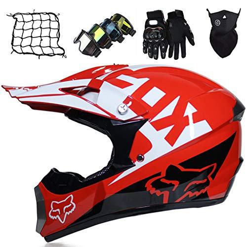 Casco da Motocross Bambini, MJH-01 Casco da Cross Bambino Adulto Casco Integrale MTB con FOX Design Enduro BMX Quad Bike Scooter Casco da Motociclista con Guanti/Occhiali/Maschera/Rete Bungy - Rosso