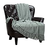 Chanasya Textured Knitted Super Soft Throw Blanket with Tassels - Warm Fluffy Cozy Plush Knit - for Couch Bed Sofa Living Room Framhouse Boho Sage Green Accent Decor (50x65 Inches) Tansage Blanket