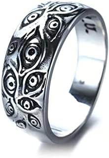 Caiyao Vintage Evil Eye Ring Silver Thousand Eye Ring True Eye Band Real Sight Finger Accessories for Women Men Cool Jewelry