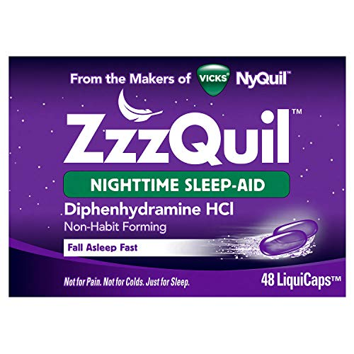 ZzzQuil Nighttime Sleep Aid LiquiCaps, 48 ct, Non-Habit Forming, Fall Asleep Fast and Wake Refreshed