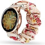 Miimall Bracelet Chouchou Compatible avec Samsung Galaxy Watch Active/Active 2 44mm 40mm, en Tissu Imprimé Élastique 20mm...