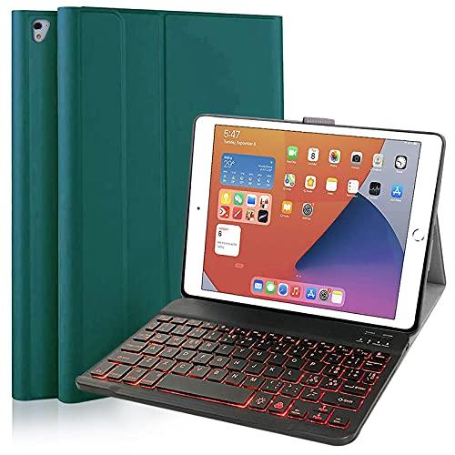 Custodia Con Tastiera Retroilluminata per IPad 9.7, Custodia Con Tastiera Bluetooth Rimovibile per IPad 6a Generazione 2018 IPad 5a Generazione, iPad Pro 9.7 Portapenne Integrato (Verde Scuro)