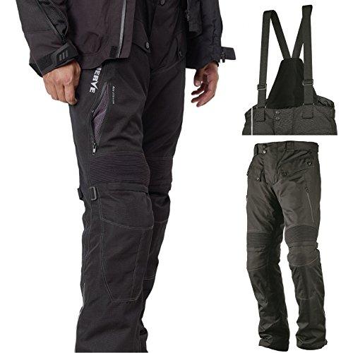 Motorradhose Standard und Kurzgrößen -Spider- Herren Sommer Winter Motorrad Textilhose mit Protektoren und Hosenträger - schwarz - Kurzgröße - L